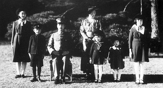 The Emperor with his wife Empress Kojun and their children on December 7, 1941 Showa-family1941 12 7.jpg
