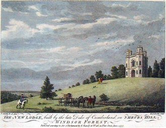 "Fort Belvedere, Surrey - ""The New Lodge built by the late Duke of Cumberland on Shrubs Hill, Windsor Forest"". Engraving of ""Shrubs Hill Tower"", built by Prince William, Duke of Cumberland (1721–1765), later called ""Fort Belvedere"""