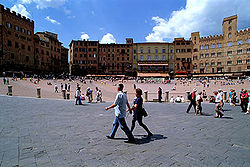 View of the Piazza del Campo, where the Palio is run.