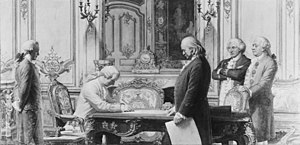 Treaty of Amity and Commerce (United States–France) - A depiction of the signing by Charles E. Mills