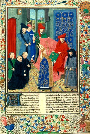 Simon Marmion - Abbot Guillaume de Filastre presents the Grandes Chroniques de France to Philip the Good; the kneeling figure in green may be a self-portrait by Marmion. (1450s)