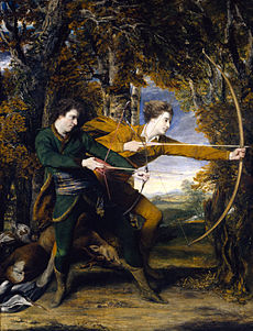A painting of 2 men with bow and arrows