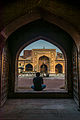 Sitting calm and enjoing the beauty of architecture at Wazir Khan Mosque.jpg