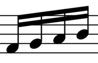 four beamed eighth notes
