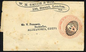 Wrapper (philately) - A Stamped to Order wrapper for W H Smith & Son, addressed to Alexandria Egypt, in addition to the impressed stamp there is an advertising ring around the stamp, the embossed stamp is dated 13.1.1882, postmarked with a special precancel postmark for W H Smith.