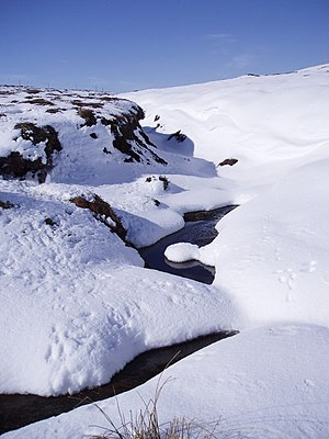 Snowdrifts on Caochan na Cuileige Taken from t...