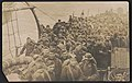 Soldiers returning home from war aboard ship, including one wearing a pickelhaube LCCN2018645949.jpg