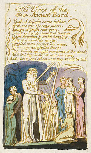 The Voice of the Ancient Bard - Image: Songs of Innocence, copy G, 1789 object 31 The Voice of the Ancient Bard (Yale Center for British Art)