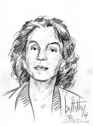 Sophia Mello Breyner Andresen, retrato a crayo...
