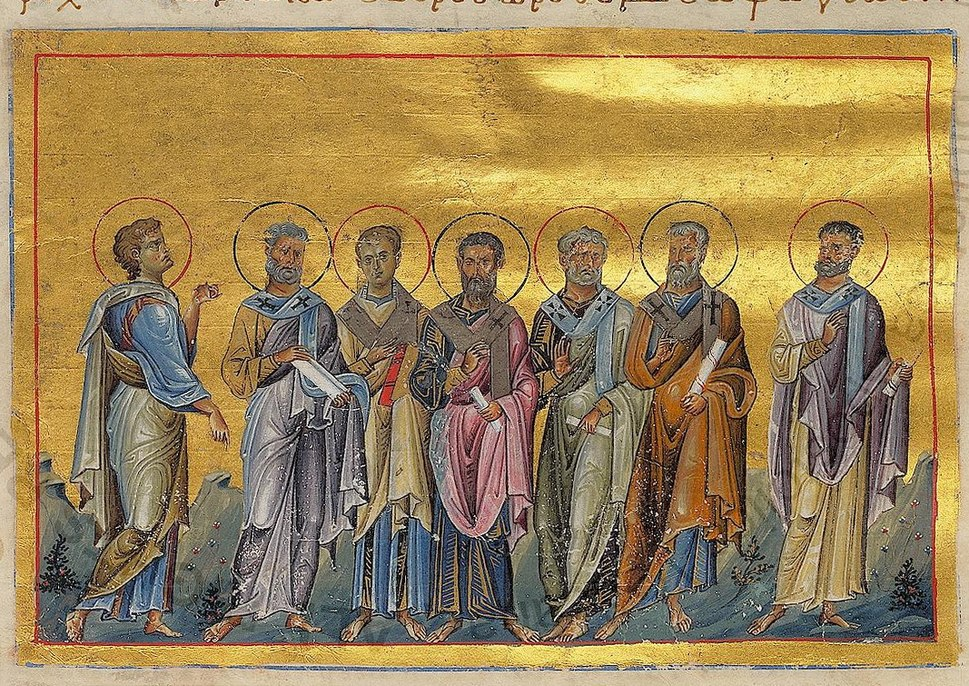 Sosthenes, Apollo, Cephas, Tychicus, Epaphroditus, Cæsar and Onesiphorus of 70 disciples (Menologion of Basil II)
