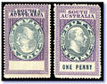 South Australia 1902 KEVII 1d Stamp Duty revenue stamp with inverted centre with normal.jpg