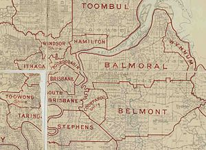 City of South Brisbane - Map of Borough of South Brisbane and adjacent local government areas, March 1902