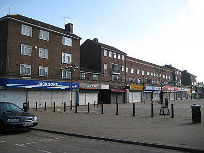 The main shopping precinct in South Oxhey town centre South Oxhey, St Andrew's Road shops - geograph.org.uk - 1375008.jpg