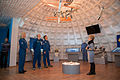 Soyuz TMA-19M backup crew during a tour of the museum in Baikonur.jpg