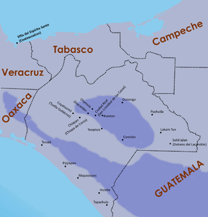 Spanish conquest of Chiapas - Map of principal settlements in Chiapas during the Spanish conquest. Highland regions are shaded.