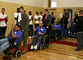 Special Olympics athletes enter the base gym to begin the 2011 Onslow County fall games Dec 111202-M-JO751-006.jpg
