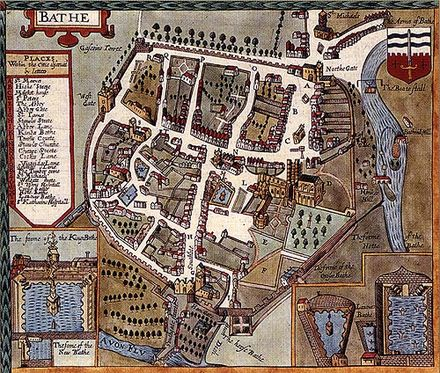 Map of Bath by John Speed published in 1610 Speed baths.jpg