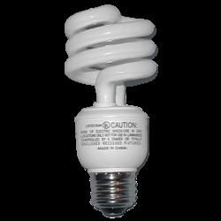 Moderne Bauform mit im Sockel integriertem Vorschaltgerät und spiralförmiger Leuchtstofflampe