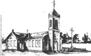 John George Alleman - The second St. Joseph's Church in Fort Madison, Iowa, constructed under the leadership of Father Alleman in 1847.