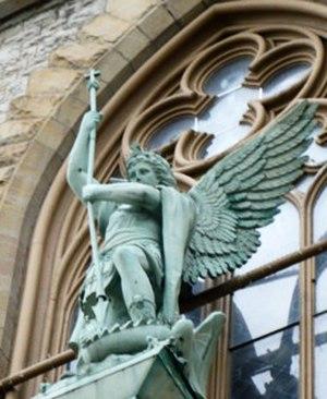 Saint Michael's Church (Rochester, New York) - Image: St. Michael copper statue