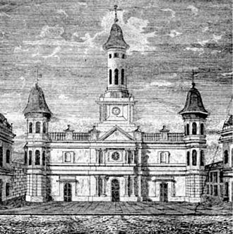 St. Louis Cathedral (New Orleans) - The cathedral in 1838, showing the appearance before the major rebuilding in 1850