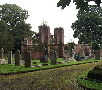 St Mary's Church, Eccleston - Remaining wall of Eccleston's old parish church and graves of the Grosvenor family, Dukes of Westminster