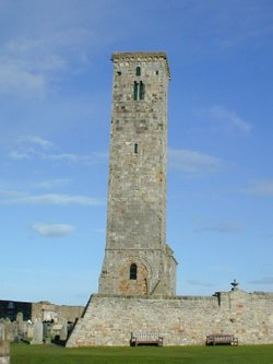 The tower of St Riagal (Saint Regulus), at Cenn Ríghmonaidh (St Andrews); this part of the St Andrews church existed in David's era.