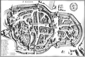 Stadtplan St Gallen 1642