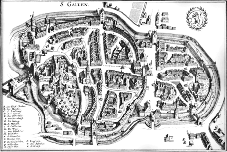 St. Gallen in 1642 Stadtplan St Gallen 1642.png