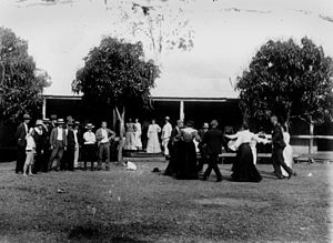 English: Country dance, Helenvale, ca. 1910. M...