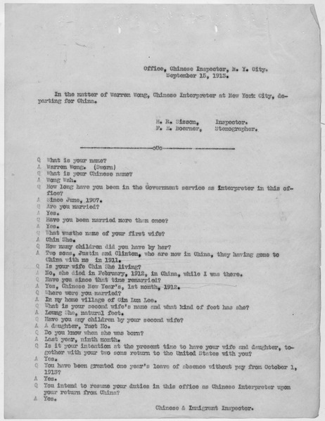 File:Statement of Warren Wong to the Chinese and Immigrant Inspector in New York City. - NARA - 278649.tif