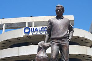 Jack Murphy (sportswriter) - Statue of Jack Murphy and his dog Abe in front of the stadium