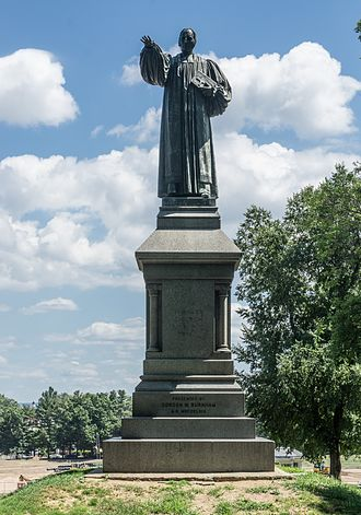 Ferdinand von Miller - Image: Statue of Thomas Church Brownell at Trinity College CT