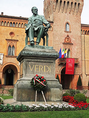 Busseto - Statue of Giuseppe Verdi in Busseto on 200th anniversary of his birth, 10 October 2013