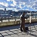 Statue of famous Hungarian painter Roskovics Ignac along the banks of Danube in Budapest, Hungary (Ank Kumar) 02.jpg