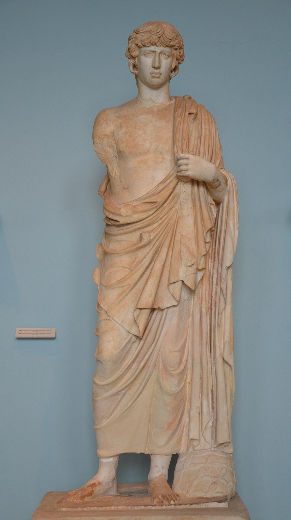Statue of the deified Antinous represented as Asklepios, found in the outer court of the sanctuary which it apparently adorned, 2nd century AD, Archaeological Museum of Eleusis (13914320141)