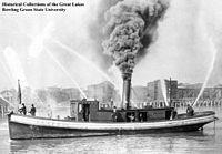 Steam powered fireboat Geyser, of Bay City, Michigan, 1890.jpg