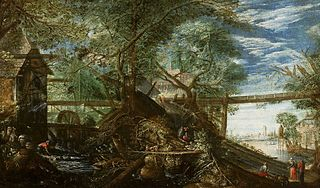 Landscape with a mill and a river.