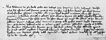 Deed of foundation of the Cologne Charterhouse dated December 6, 1334, shown without a seal