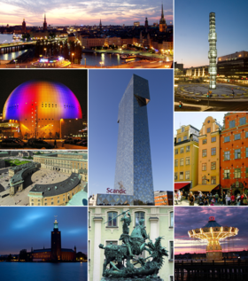 From left to right: Aerial view of the city with the Old Town, the monument at Sergels Torg, Ericsson Globe, Victoria Tower in Kista, old buildings at Stortorget, Stockholm Palace, Stockholm City Hall, statue of St. George and the dragon, and a carousel at the amusement park Gröna Lund.