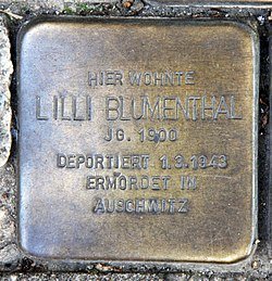 Photo of Lilli Blumenthal brass plaque