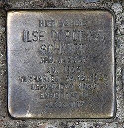 Photo of Ilse Dorothea Schmidt brass plaque