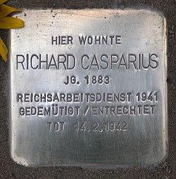 Photo of Richard Casparius brass plaque