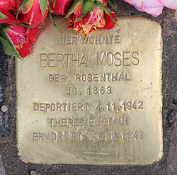 Photo of Bertha Moses brass plaque