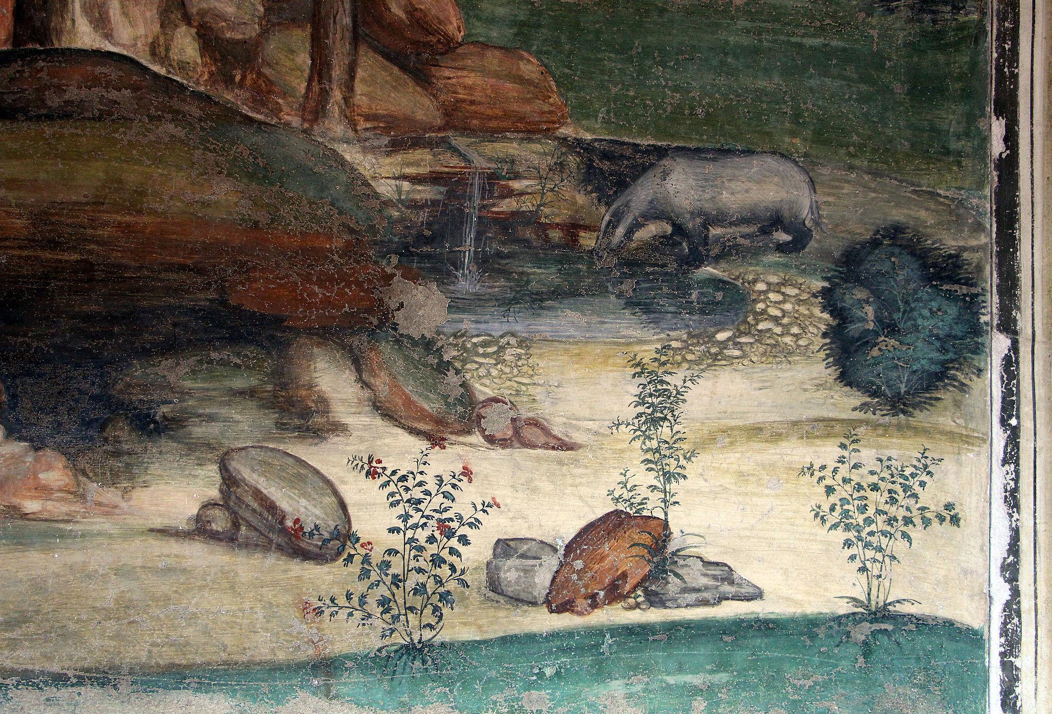 Arte in Toscana | Il Sodoma, Le storie di San Benedetto (5) Come lo dimonio rompe la campanella, Chiostro grande del monastero di Monte Oliveto Maggiore
