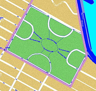"City block - Stuyvesant Town road and path network plan showing the looped streets and the connecting paths through the open space. It is an example of the superblock concept and of the idea of ""filtered permeability""."