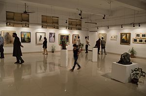 Culture of Kolkata - An exhibition of painting and sculpture is going on at the Academy of Fine Arts, Kolkata.