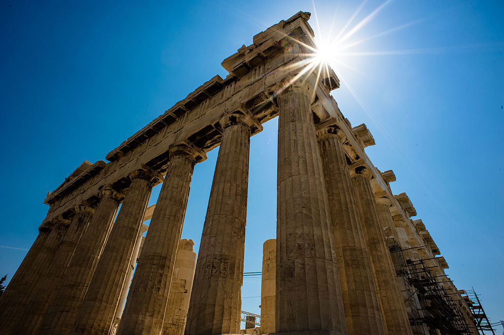 Sun over Parthenon, Athenian Acropolis (3-4 perspetive, rear facade). Athens, Greece