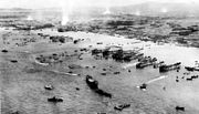 Hive of activity, Okinawa beachhead on L+3 day, 1945.