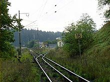 Switch-bifurcation of dual gauge rail near Jindrichuv Hradec.jpg